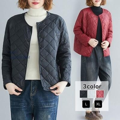 ジャケット 中綿ジャケット 防寒 アウター羽織り キルティング あったか ショート丈 ノーカラー