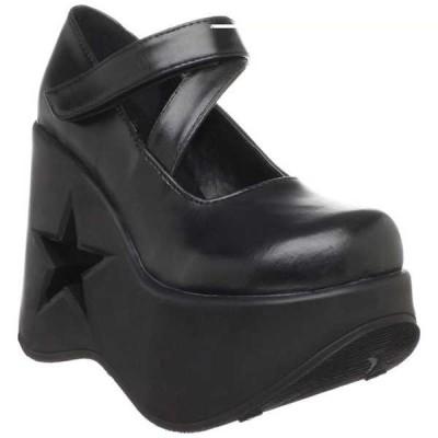 ヒール パンプス シューズ 靴 デモニア DEMONIA レディース Star ブラック Pu Platform Mary Janes Punk Gothic サンダル DYNAMITE-03 Blk Pu