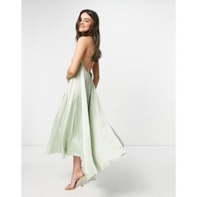 ワイ エー エス Y.A.S レディース パーティードレス マキシ丈 Bridesmaid Maxi Dress With Plunge Cross Front In Green シーフォームブルー