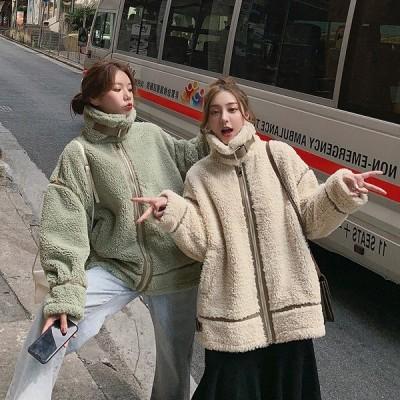 全2色 ファーコート ファー付き 切り替え 体型カバー 着痩せ シンプル