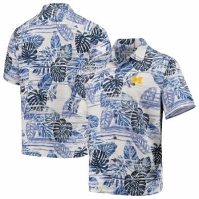"""トミーバハマ メンズ シャツ """"Michigan Wolverines"""" Tommy Bahama Super Fan Camp Shirt - Navy"""