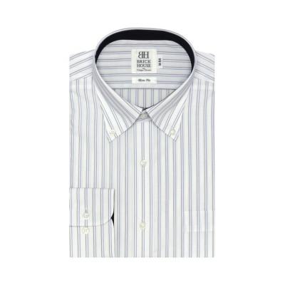 (BRICKHOUSE/ブリックハウス)ワイシャツ長袖形態安定 ボタンダウン ブルー系 スリム/メンズ ブルー