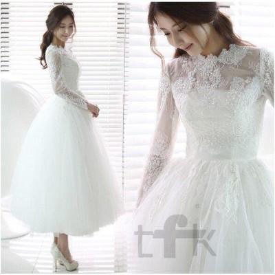 花嫁 二次会 ドレス ウェディングドレス/結婚式/手作り ワンピース/ミモレドレス ミディアム丈 小さい 大きいサイズ白