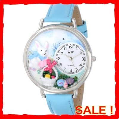 復活祭 イースターエッグ 水色レザー シルバーフレーム 時計 #U1220016