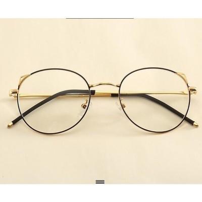PCメガネ メンズ レディース 丸型 ブルーライトカット 軽量 度なし 伊達メガネ メタルフレーム おしゃれ PC眼鏡