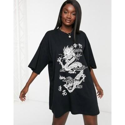 エイソス レディース ワンピース トップス ASOS DESIGN oversized t-shirt dress with dragon graphic in black