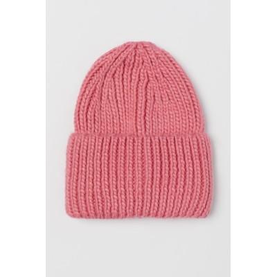 H&M - チャンキーニットキャップ - ピンク