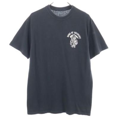 サンズオブアナーキー スカル柄 プリント 半袖 Tシャツ L 黒 SONS OF ANARCHY 海外ドラマ アメリカ メンズ 古着 200719 メール便可