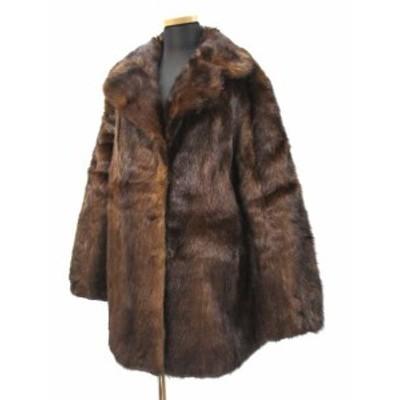 【中古】セレクト商品 高級 本毛皮 ミンク コート ブラウン レディース