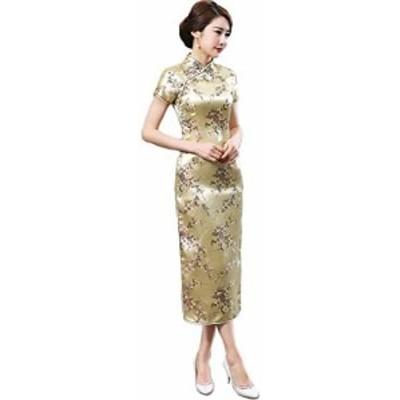 チャイナ服 ロング丈 ロングチャイナドレス 結婚式ゲスト衣装 ワンピースドレス フォーマルワンピース (XL, 梅柄ゴールド)