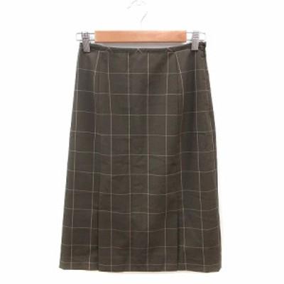 【中古】ナチュラルビューティーベーシック 台形スカート ひざ丈 チェック ウール S 茶 ブラウン /ST レディース