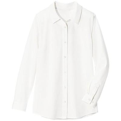 【ぽっちゃりさんサイズ】カットソーレギュラーシャツ(長袖) グラマー用サイズ有(胸のサイズで選べる)/オフホワイト/L