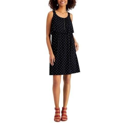 スタイルアンドコー ワンピース トップス レディース Petite Printed Tiered Dress,  Black Dot