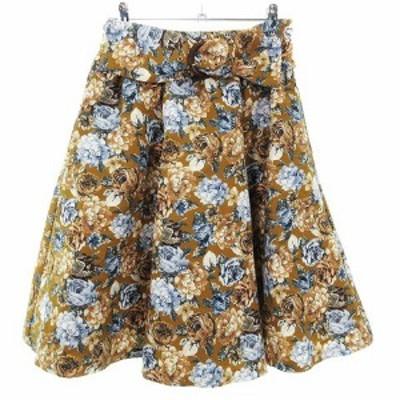 【中古】ジルバイジルスチュアート スカート フレア ひざ丈 薄手 ベルト 花柄 FR 茶 ボトムス レディース