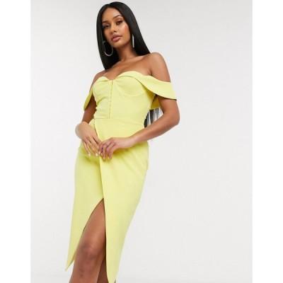 ラヴィッシュアリス Lavish Alice レディース ワンピース ミドル丈 ワンピース・ドレス off the shoulder midi dress in yellow レモンイエロー