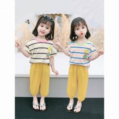 子供服女の子 セットアップ パンツ Tシャツ 半袖 ボーダー スマイル 花 春 夏 パンツ 2点セット カジュアル シンプル かわいい おしゃれ