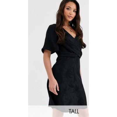 ワイ エー エス Y.A.S Tall レディース ワンピース ワンピース・ドレス Opia short sleeve knot front mini dress ブラック