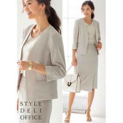 STYLE DELI / 【SD OFFICE】サラサラ麻微混7分袖ジャケット/Made in JAPAN WOMEN ジャケット/アウター > テーラードジャケット