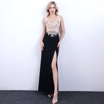 パーティードレス ナイトクラブ キャバ イブニングドレス 安い 可愛い スリット セクシー 大人 綺麗め パーティ ロング