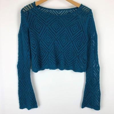 古着 Tex ショートセーター かぎ編み/レース編み フレアスリーブ グリーン系 レディースM 中古 n012873
