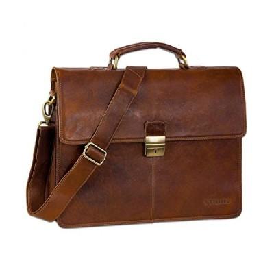 STILORD Vintage Leather Briefcase Portfolio Men Shoulder Bag Classic Vintage Business Work Bag Genuine Leather Brown 並行輸入品