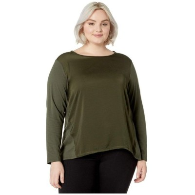 マイケル コース MICHAEL Michael Kors レディース 長袖Tシャツ 大きいサイズ トップス Plus Size Woven Combo Long Sleeve Top Ivy
