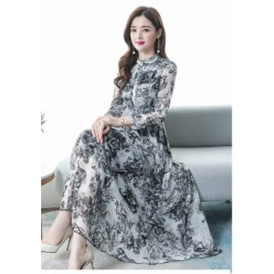 ドレス シフォンドレス 大きいサイズ M~3XL レディース ラ ハイネック Aライン 花柄 長袖 ミモレ丈 レディース