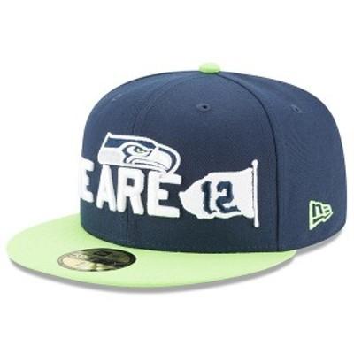 ニューエラ メンズ 帽子 アクセサリー Seattle Seahawks New Era 2018 NFL Draft Spotlight 59FIFTY Fitted Hat Navy/Neon Green