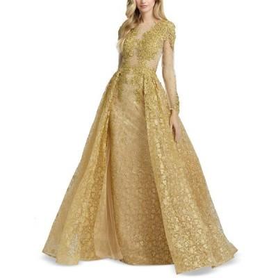 マックダガル ワンピース トップス レディース Lace & Beaded Gown Gold