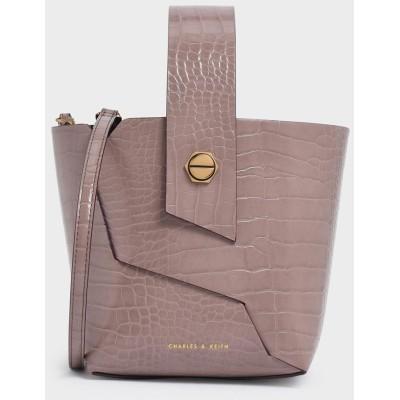 【再入荷】クロックエフェクトリスレットハンドル バケツバッグ / Croc-Effect Wristlet Handle Bucket Bag (Ma