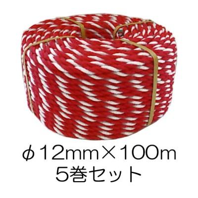 (5巻セット) 紅白ロープ #12×100m 太さ約9mm 約3.7kg/巻