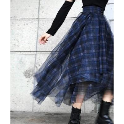 スカート チェックチュールスカート