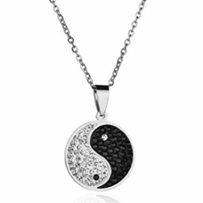 Wovanoo Yin and Yang Necklace Rhinestone Stainless Steel Pendant Taoism Necklaces Silver