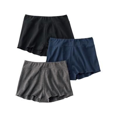ゴムが肌にあたらない綿混ストレッチおやすみ深ばきフレアーパンツ3枚組(M) スタンダードショーツ, Panties