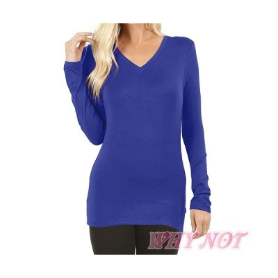 レディース トップス Tシャツ 長袖 LAインポート ソリッドカラー Vネック S.M.L.XL ロイヤルブルー FROM USA
