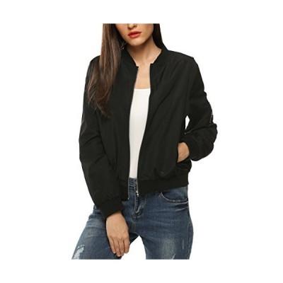 Zeagoo レディースジャケット 上品なキルティング生地ボンバーコート US サイズ: Small カラー: ブラック