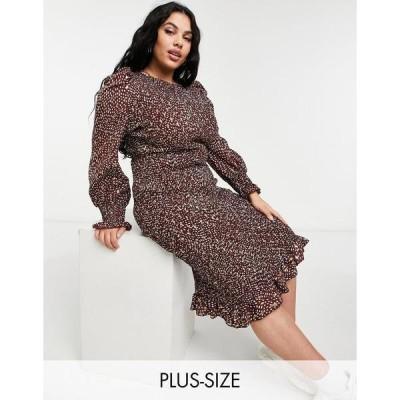 アウトレイジャス フォーチュン プラス レディース ワンピース トップス Outrageous Fortune Plus plisse midi dress in brown spot print Multi