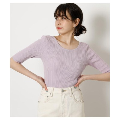 (AZUL by moussy/アズールバイマウジー)BACK OPEN RIBBON KNIT/レディース L/PUR1