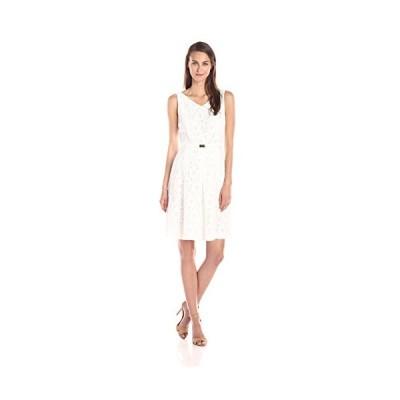 Jones New ヨーク レディース V ネック Pleated フロント ドレス, ジェット ホワイト, 6(海外取寄せ品)