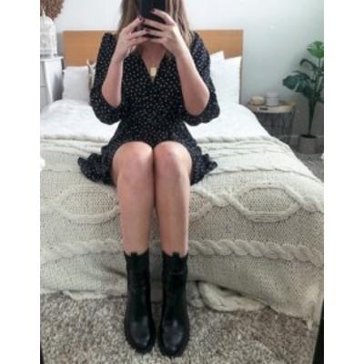 エイソス レディース ワンピース トップス ASOS DESIGN wrap front frill hem mini tea dress with puff sleeves in polka dot Spot prin