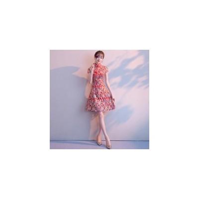 パーティードレス  ミニドレス チャイナドレス 赤 レッド Aライン  【XS-XXXLサイズ】
