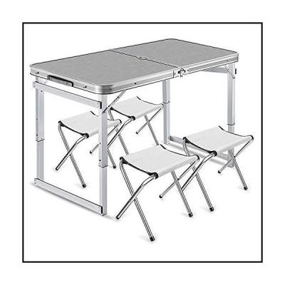 【新品】QJJML Outdoor Folding Table and Chair Set, Aluminum Folding Table, Easy to Clean, Picnic Light, Camp, Beach, Barbecue, Hiking, T