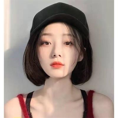 一体型帽子用  ボブbob ショットマリンキャップ 帽子付きウィッグ セミロング カール 髪付き き耐熱 wig 巻き ウェーブ  小顔効果 レディース