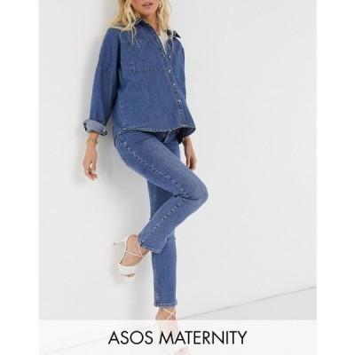 エイソス ASOS Maternity レディース ジーンズ・デニム Maternity high rise 'sassy' cigarette jeans in authentic midwash with elasticated side waistband
