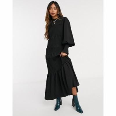 エイソス ASOS DESIGN レディース ワンピース ミドル丈 ワンピース・ドレス shirred pep hem midi dress in black ブラック