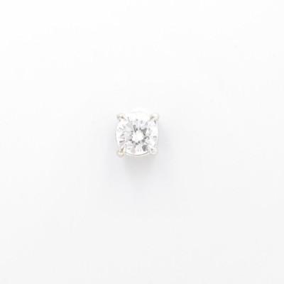 K18WG ソリティア ダイヤモンドピアス 片耳