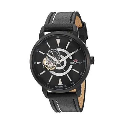 Seapro Men's Elliptic Stainless Steel Japanese-Automatic Leather Calfskin Strap, Black, 20 Casual Watch (Model: SP0142)並行輸入品