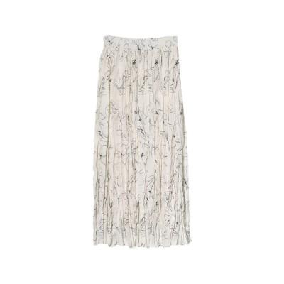 リエディ Re:EDIT [お家で洗える][低身長向けSサイズ対応]フラワープリントプリーツスカート (アイボリー)