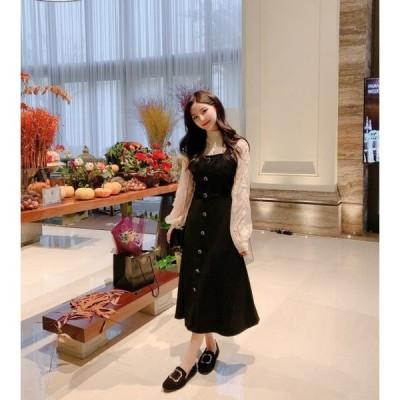 ジャンパースカート カジュアル 秋冬 ワンピース デート 大人ファッション かわいい 韓国ファッション フレア Aライン