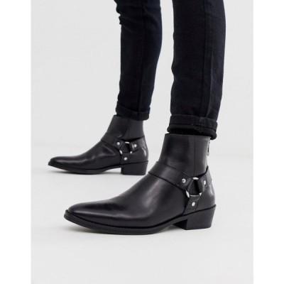 エイソス ASOS DESIGN メンズ ブーツ ウェスタンブーツ チェルシーブーツ cuban heel western chelsea boots in black leather with buckle detail ブラック